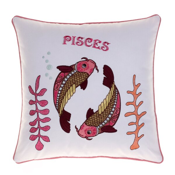 Horoscope Pisces 100% Cotton Throw Pillow by 14 Karat Home Inc.